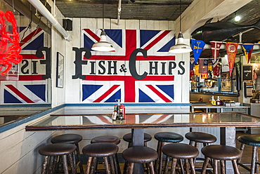 Fish and chips, restaurant on Pier 39, port, San Francisco, California, USA, North America