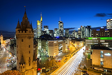 Skyline with Eschenheimer Tower city gate at night, Frankfurt, Hesse, Germany, Europe