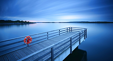 Pier in the harbour with life belt, dusk, lake Geiseltalsee, Braunsbedra, Saxony-Anhalt, Germany, Europe