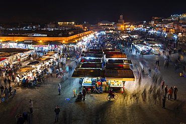 Djemaa el Fna or Jamaa el Fna square at night, Marrakech, Morocco, Africa