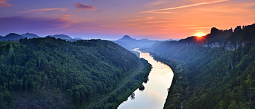 Sunset in the Elbe Valley, on the right the Schrammsteine, behind the Lilienstein, Elbe Sandstone Mountains, National Park Saxon Switzerland, near Schmilka, Saxony, Germany, Europe