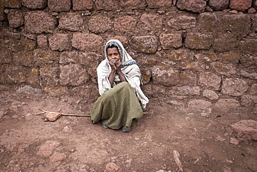 Woman begging for alms, Lalibela, Ethiopia, Africa