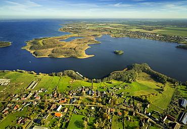 Aerial view, Kleine Muritz Lake, Vipperow, Mecklenburg Lake District, Mecklenburg-Western Pomerania, Germany, Europe