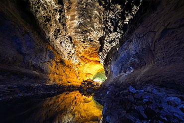 Water reflections in the cave Cueva de los Verdes, illuminations of the cave system of a lava tube designed by Cesar Manrique, Lanzarote, Canary Islands, Spain, Europe