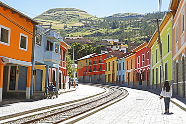 Eloy Alfaro street with tracks, start of the Andean railway route Nariz del Diablo or Devil's Nose, Alausi, Chimborazo Province, Ecuador, South America