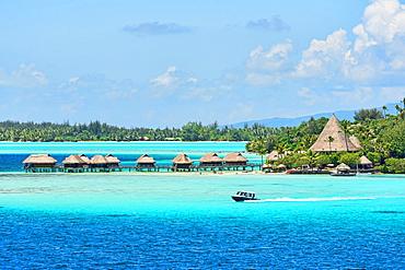 Overwater bungalows, Bora Bora, French Polynesia, Oceania