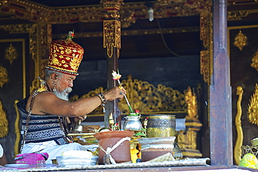 Priests celebrating Mass, Temple of the Bats or Goa Lawah, Bali, Indonesia, Asia