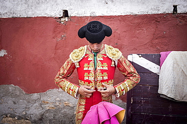 Matador before a bullfight in the arena, Barco de Avila, Avila, Castile and Leon, Spain, Europe