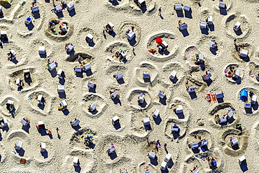 Aerial view, sandy beach beach with beach chairs and sand ramparts, Wangerooge, East Frisian Islands, East Frisia, Lower Saxony, Germany, Europe
