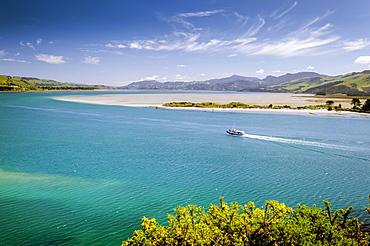 Boat crossing Hoopers Inlet, Otago Region, South Island, New Zealand, Oceania
