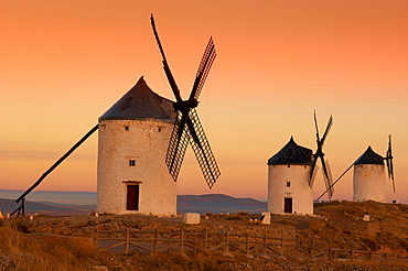 Windmills, Route of Don Quixote, Consuegra, Toledo province, Castilla-La Mancha, Spain, Europe