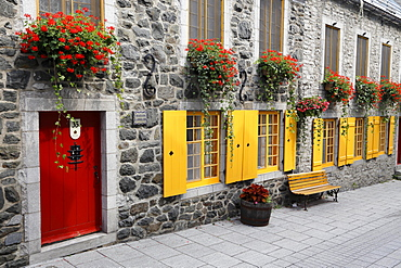 Red door, yellow windows, Rue du Petit-Champlain, Quebec, Quebec Province, Canada, North America