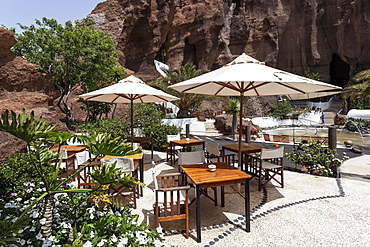 Garden terrace, Lagomar cafe-restaurant, Nazaret, Lanzarote, Canary Islands, Spain, Europe