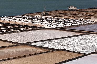 Sea salt production, salt pans, Salinas de Janubio, Lanzarote, Canary Islands, Spain, Europe