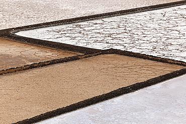 Sea salt production, dry basins, salt pans, Salinas de Janubio, Lanzarote, Canary Islands, Spain, Europe