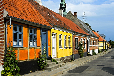 Row of houses, Nysted, Lolland, Denmark, Europe