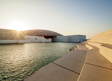 Louvre Abu Dhabi at sunset, Abu Dhabi, United Arab Emirates, Asia