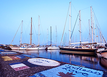 Yacht Harbour at dusk, Horta, Faial Island, Azores, Portugal, Europe