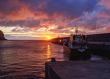 Fishing boat in port at sunrise, Lajes das Flores, Flores Island, Azores, Portugal, Europe