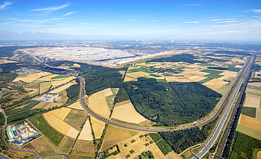 Aerial view, Etzweiler, lignite open-pit mining, Hambach Forest, Burgewald Steinheide, landscape conservation area, brown coal mining, protest, forest occupation, Merzenich, Rhineland, North Rhine-Westphalia, Germany, Europe