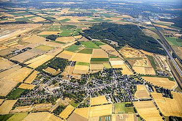 Aerial view, Hambach Forest, Burwald Steinheide, landscape conservation area, lignite open-pit mining, protest, forest occupation, Manheim, Elsdorf, Rhineland, North Rhine-Westphalia, Germany, Europe