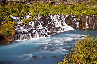 Waterfall Hraunfossar with the blue river Hvita, West Iceland, Iceland, Europe