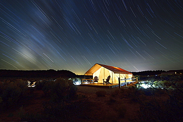 Glamping at Basecamp 37, night shot, Kanab, Utah, USA, North America