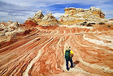 Hiker in White Pocket Canyon, Kanab, Utah, USA, North America