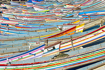 Colorful fishing boats in the harbour, Vizhinjam, Kerala, India, Asia