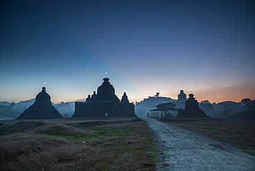 Laymyetnta Pagoda or Temple at twilight, blue hour, Mrauk U, Sittwe District, Rakhine State, Myanmar, Asia