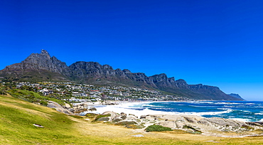 Camps Bay with the Twelve Apostles, Cape Town, Western Cape, South Africa, Africa