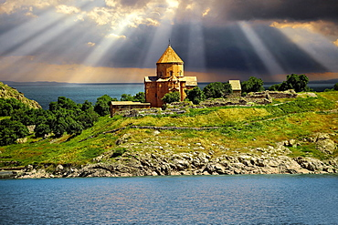 Armenian Cathedral of the Holy Cross, 10th century, Akdamar Island, Lake Van, Turkey, Asia