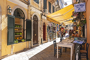 Restaurant, tavern, shops, old town, Kerkyra, island Corfu, Ionian Islands, Greece, Europe