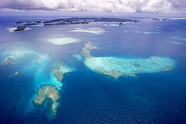 Aerial view, coral reef, Pacific Ocean, Palau, Oceania