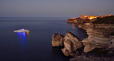 Upper town on the white chalk cliffs at dawn, Bonifacio, Corsica, France, Europe