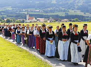 Corpus Christi procession, Torwang, Samerberg, Chiemgau, Upper Bavaria, Bavaria, Germany, Europe