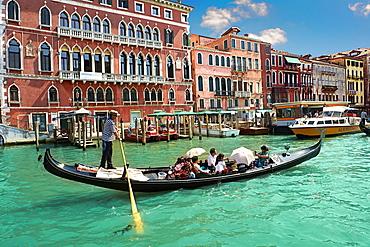 Gondolas on the Grand Canal, Venice, Veneto, Italy, Europe