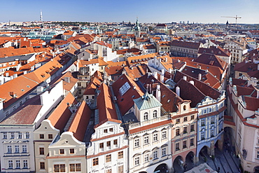 View from the tower of City Hall across the Old Town, Prague, Bohemia, Czech Republic, Europe