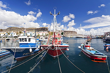 Fishing boats in the harbor, Puerto de Mogan, Gran Canaria, Canary Islands, Spain, Europe