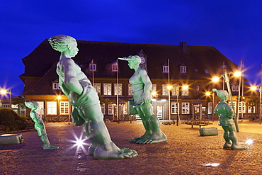"""""Travelling Giants in the Wind"""", sculptures at Westerland Railway Station, Sylt, North Frisia, Schleswig-Holstein station, Germany, Europe"