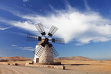 Molina de Tefia windmill, Tefia, Fuerteventura, Canary Islands, Spain, Europe