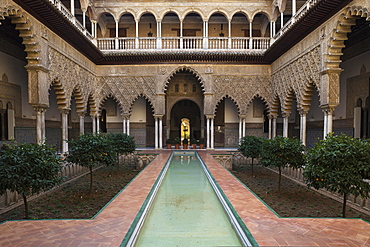 Courtyard of the Maidens, Patio de las Doncellas, Alcazar of Seville, Seville province, Andalusia, Spain, Europe