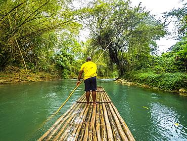 Rafting on the Martha Brae, river Martha Brae, Rafting Village, region Montego Bay, Jamaica, Great Antilles, Caribbean, Central America