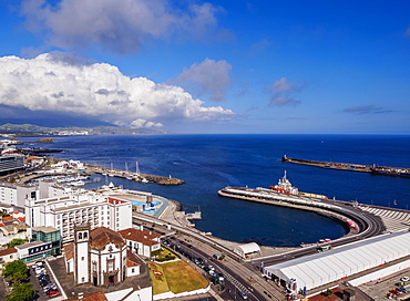 Marina, elevated view, Ponta Delgada, Sao Miguel Island, Azores, Portugal, Europe