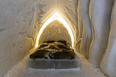 Bedroom in the Ice Hotel or Snow Hotel, Sinetta, Lapland, Finland, Europe
