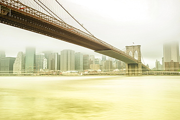 Brooklyn Bridge with views of Manhattan, New York City, New York, United States, North America