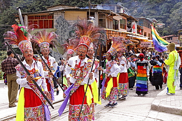 Traditional parade in Aguas Calientes, Peru, South America