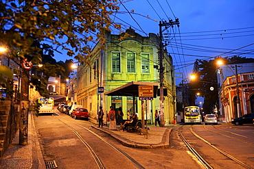 Largo dos Guimaraes square at dusk, blue hour, Santa Teresa neighborhood, Rio de Janeiro, Brazil, South America