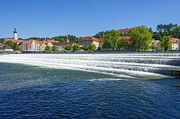 Lechwehr, weir on the Lech river, Landsberg am Lech, Upper Bavaria, Bavaria, Germany, Europe