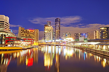 Skyline, skyscrappers at the Yarra river at night, City Centre, Melbourne, Victoria, Australia, Oceania